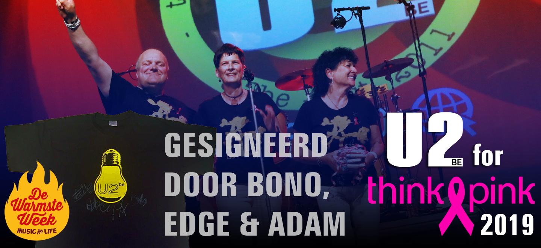 Veiling U2be t-shirt gesigneerd door Bono, The Edge en Adam Clayton